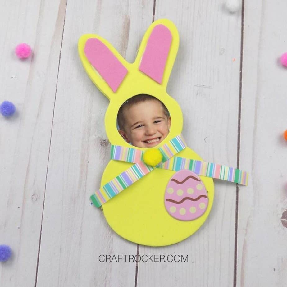 Close Up of Yellow Foam Bunny Photo Magnet - Craft Rocker