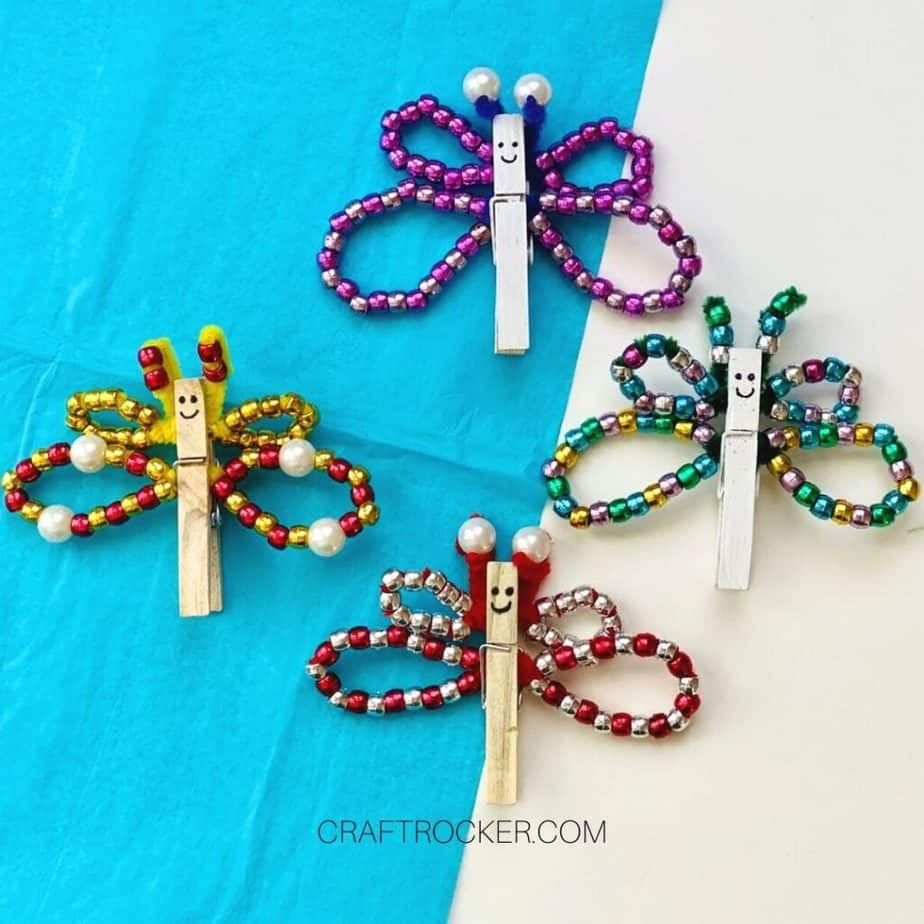 Colorful Beaded Clothespin Butterflies - Craft Rocker