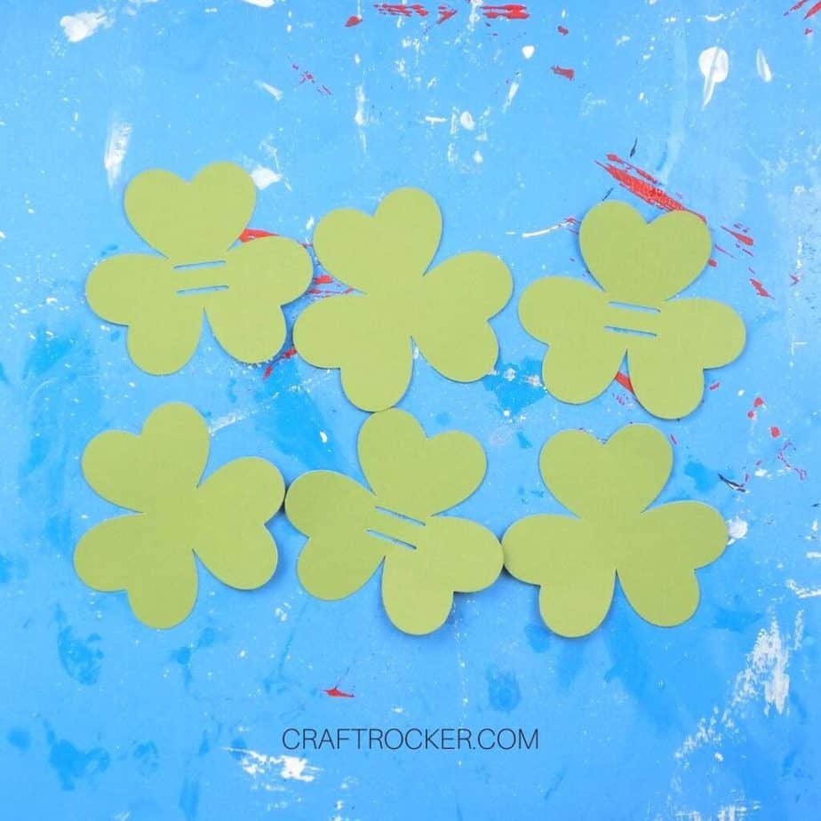 Cut Out Green Cardstock Shamrocks - Craft Rocker