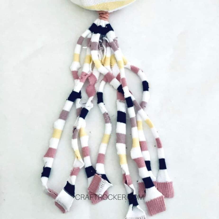 Cut Strips of Striped Sock End - Craft Rocker