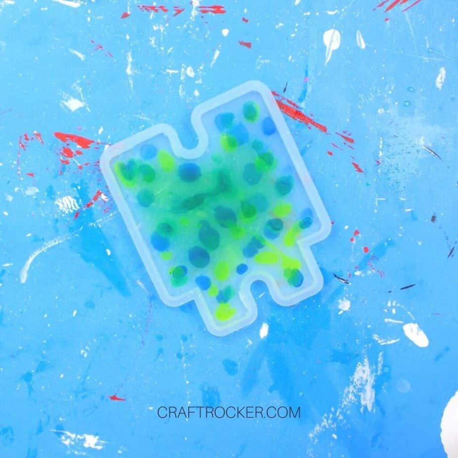Drops of Dye in Resin in Small Silicone Mold - Craft Rocker