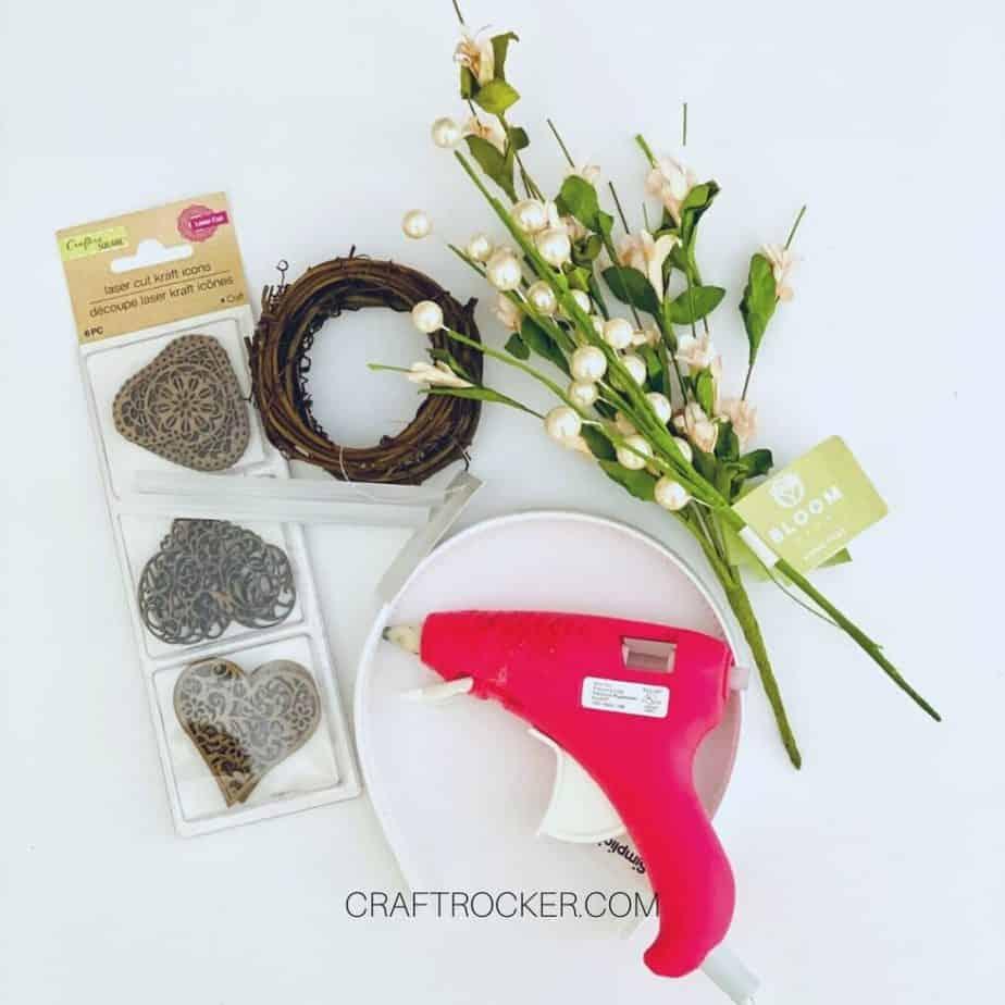Florals and Craft Supplies next to Glue Gun - Craft Rocker