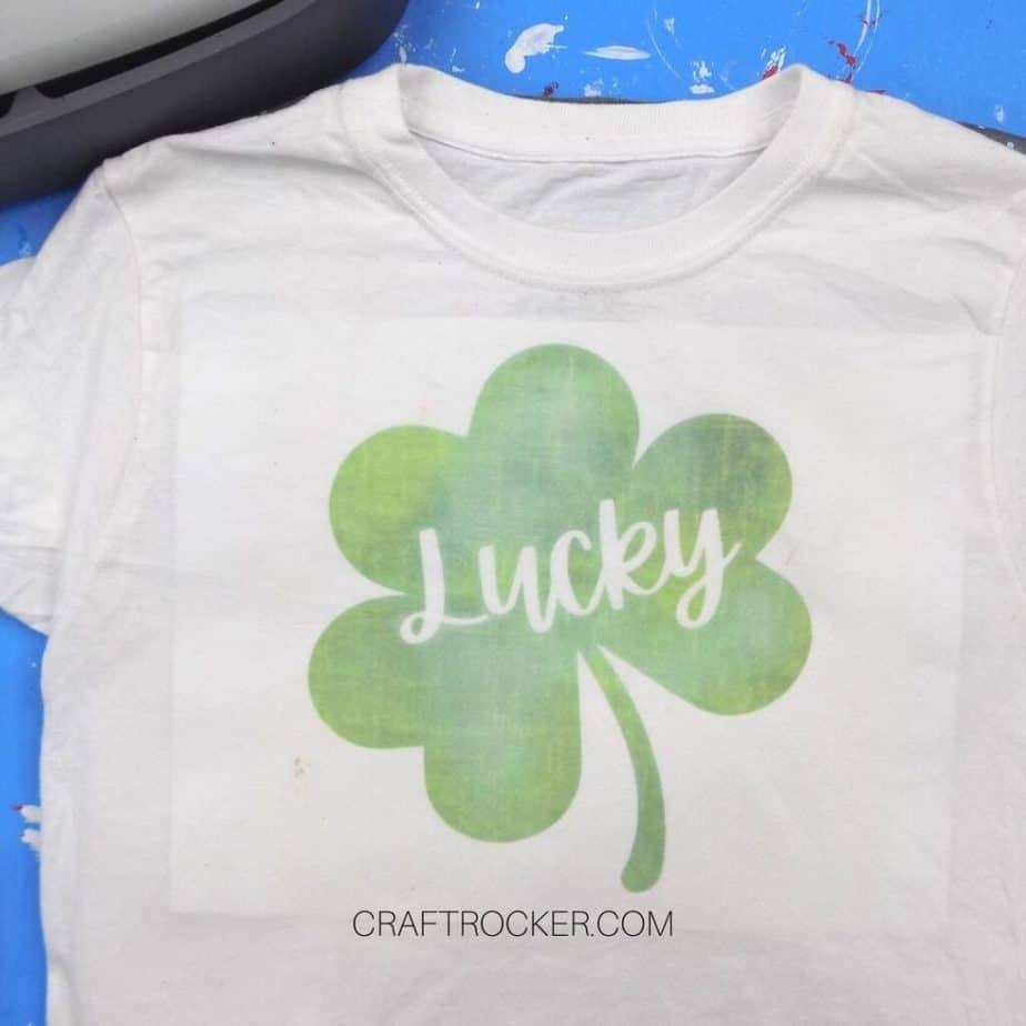 Green Lucky Shamrock on White T-shirt - Craft Rocker