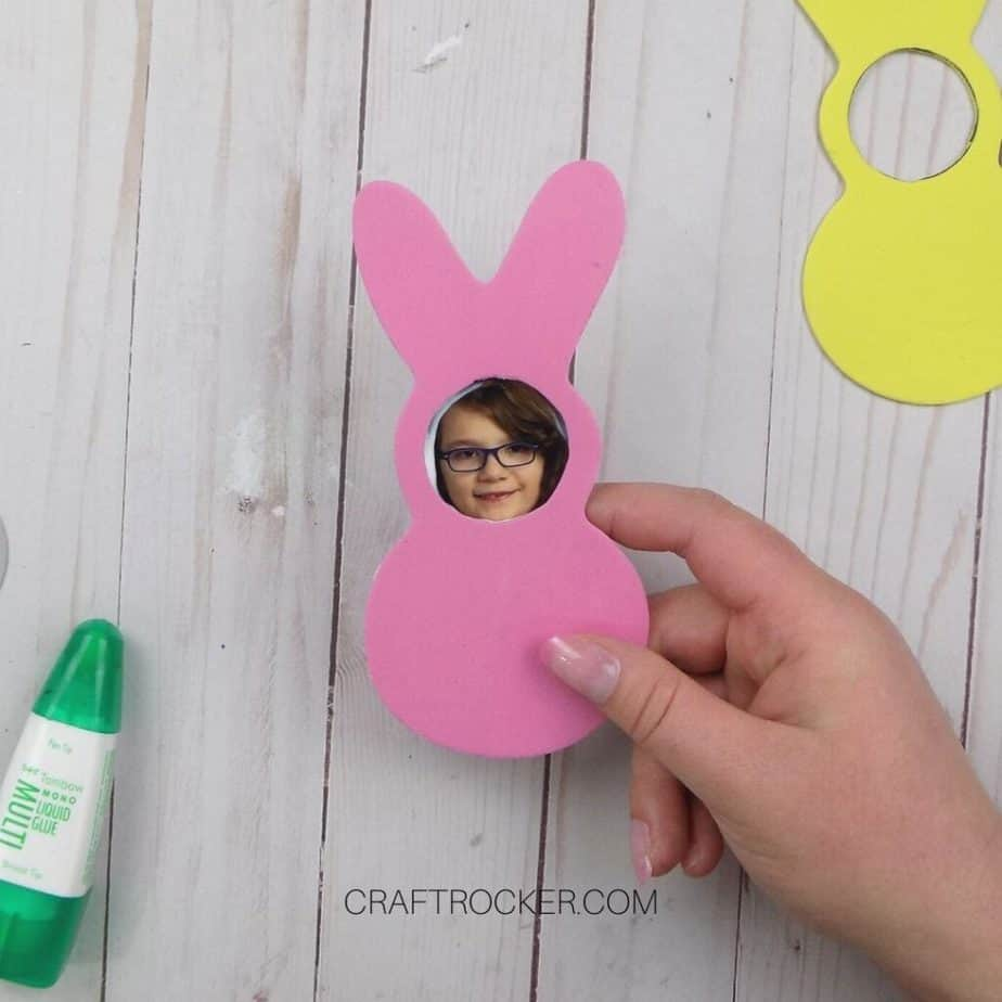 Hand Holding Foam Bunny with Photo Glued to It - Craft Rocker
