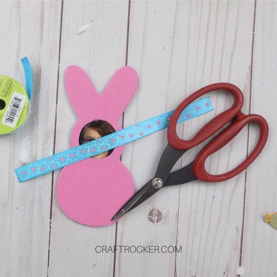 Length of Ribbon on top of Foam Bunny next to Scissors - Craft Rocker