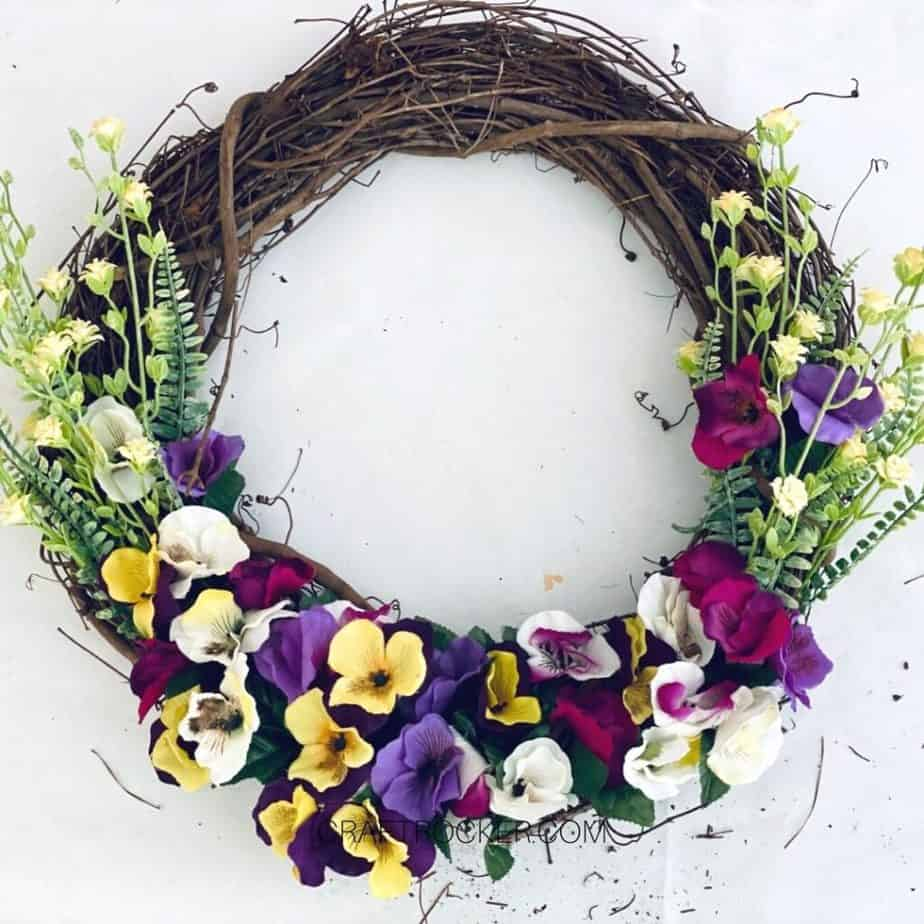 Multiple Flowers attached to Grapevine Wreath - Craft Rocker