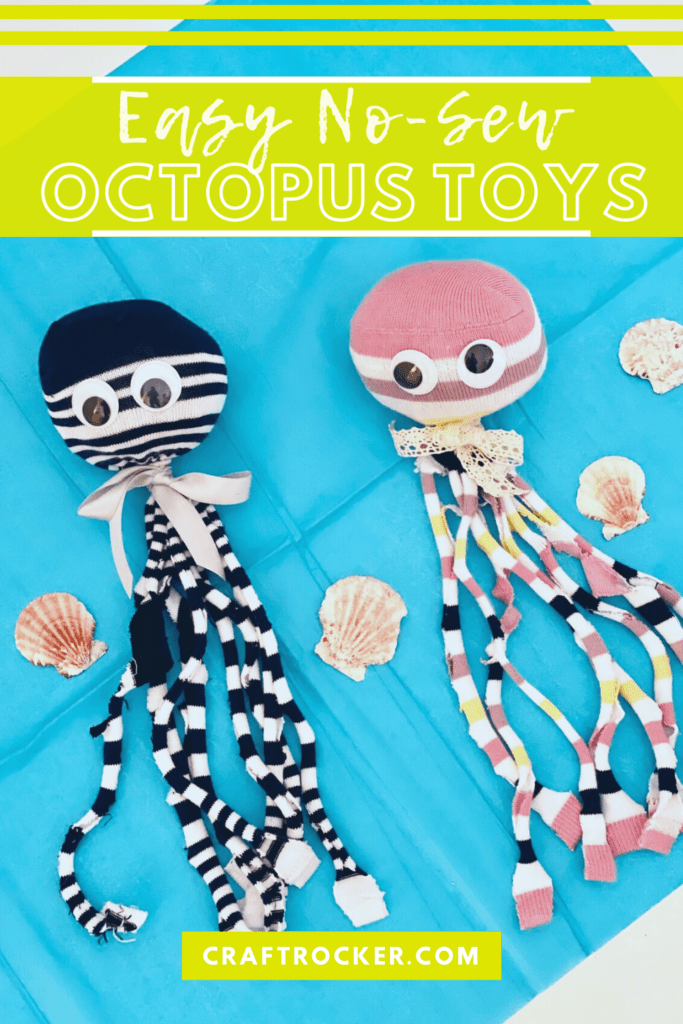 Octopus Toys on Blue Background next to Shells with text overlay - Easy No-Sew Octopus Toys - Craft Rocker