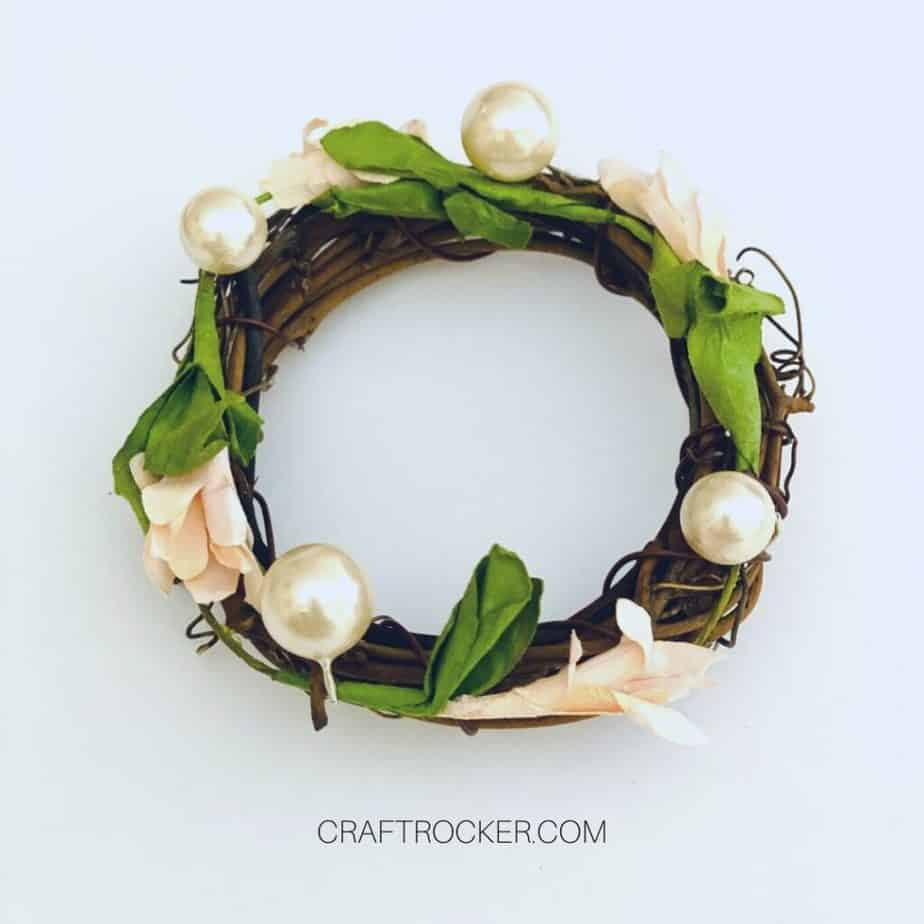 Pearls and Flowers Attached to Mini Grapevine Wreath - Craft Rocker