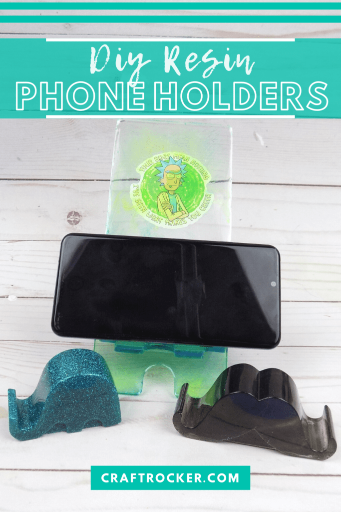 Phone on Rick Phone Holder next to Elephant and Mustache Holders with text overlay - DIY Resin Phone Holders - Craft Rocker