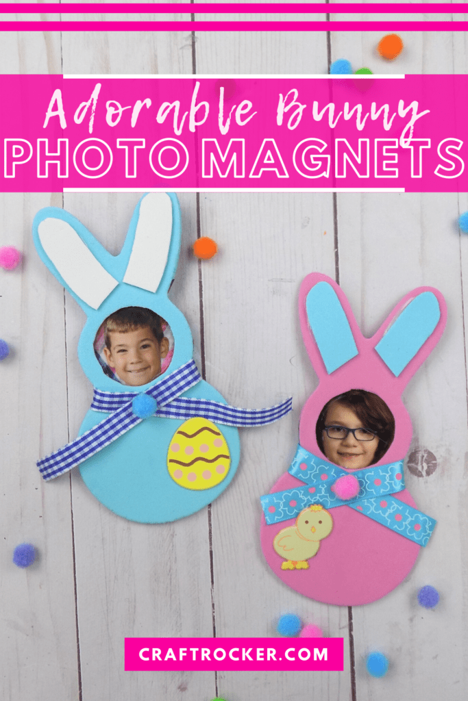 Pink and Blue Decorated Bunnies with Kids Photos with text overlay - Adorable Bunny Photo Magnets - Craft Rocker