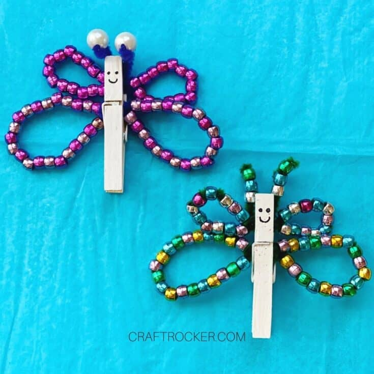 Purple and Multicolor Beaded Clothespin Butterflies with Faces - Craft Rocker