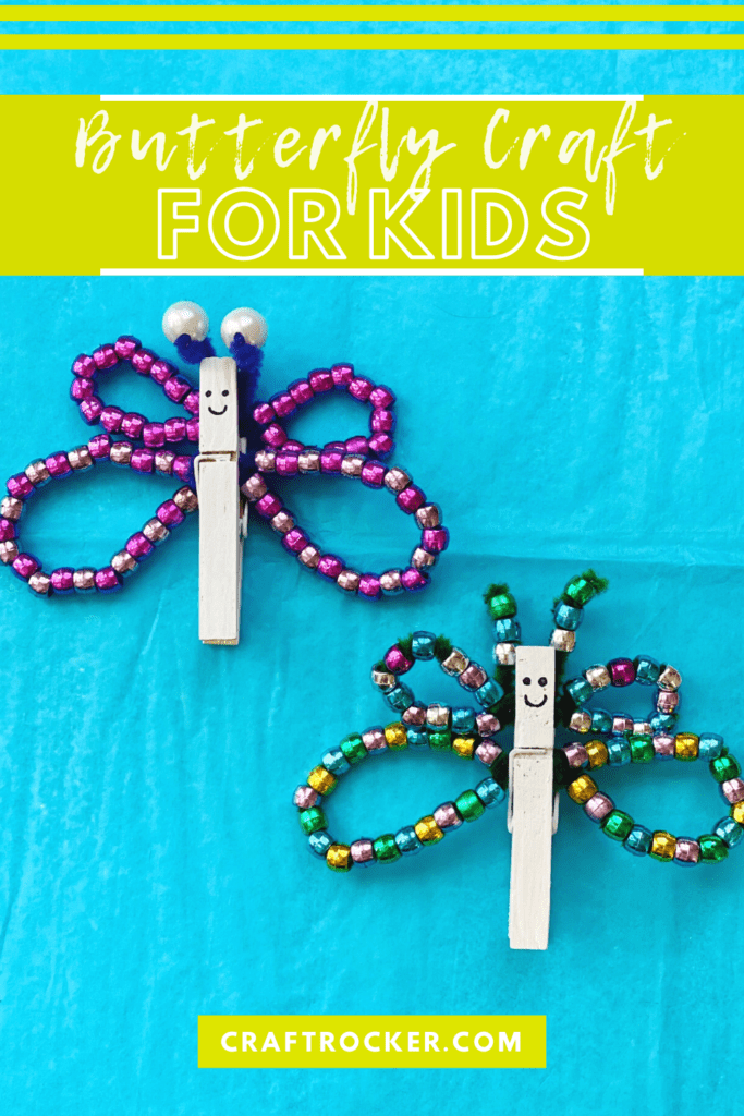 Purple and Multicolor Beaded Clothespin Butterflies with Faces with text overlay - Butterfly Craft for Kids - Craft Rocker