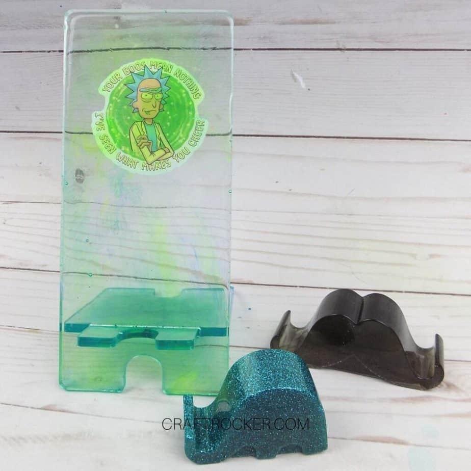 Resin Phone Holder on Wood Background - Craft Rocker