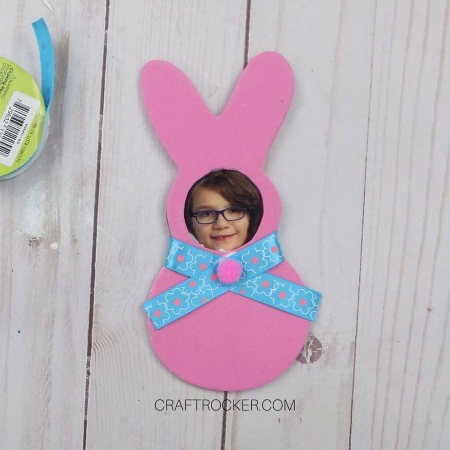 Ribbon Glued Around Bunny Neck with Pompom glued to Center - Craft Rocker