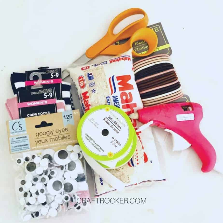 Socks Rice and Hair Ties next to Craft Supplies and Tools - Craft Rocker