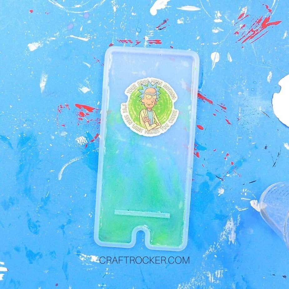 Sticker on Resin in Silicone Mold - Craft Rocker