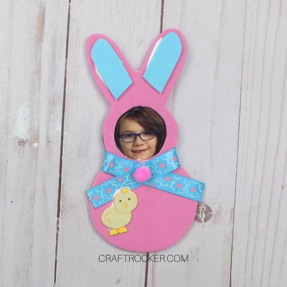Trimmed Blue Ears Glued to Pink Foam Bunny - Craft Rocker