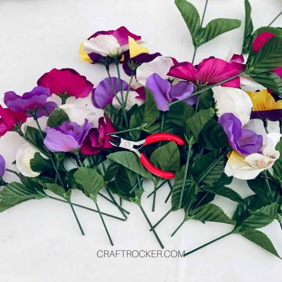Wire Cutters on Top of Trimmed Flowers - Craft Rocker
