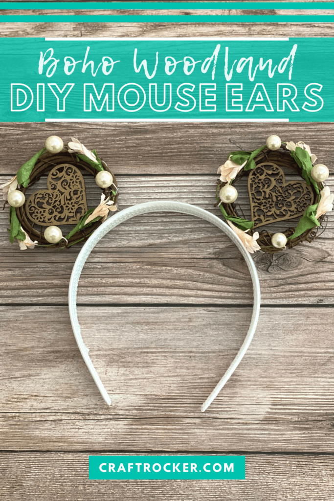 Woodland Mouse Ears on Wood Background with text overlay - Boho Woodland DIY Mouse Ears - Craft Rocker
