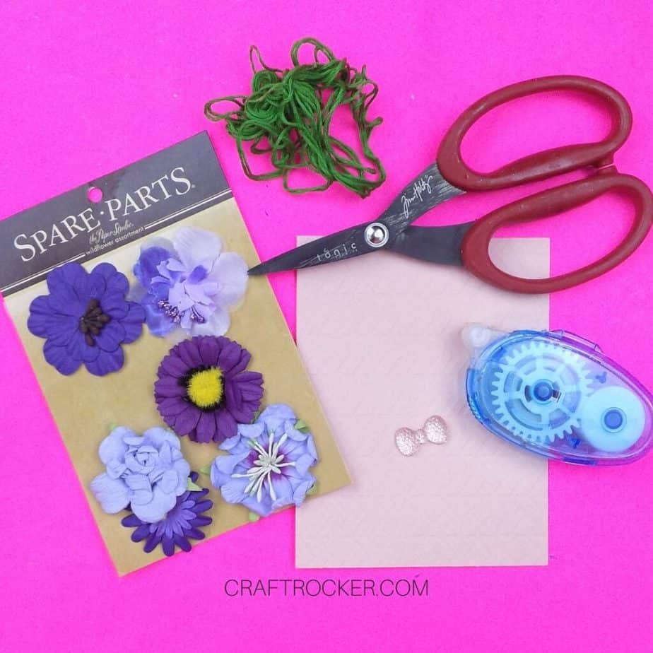 Blank Card and Flower Stickers next to Craft Supplies - Craft Rocker