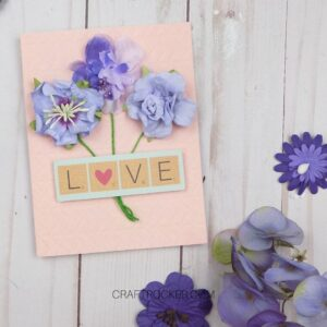 Bouquet Card next to Flowers on Wood Background - Craft Rocker