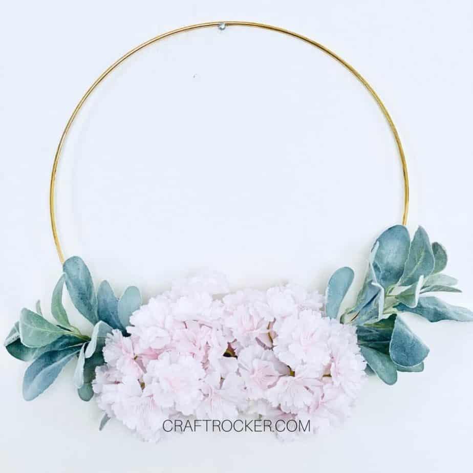 Cherry Blossom Hoop Wreath on White Background - Craft Rocker
