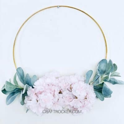 Gold Hoop Wreath DIY with Cherry Blossoms and Lamb's Ear
