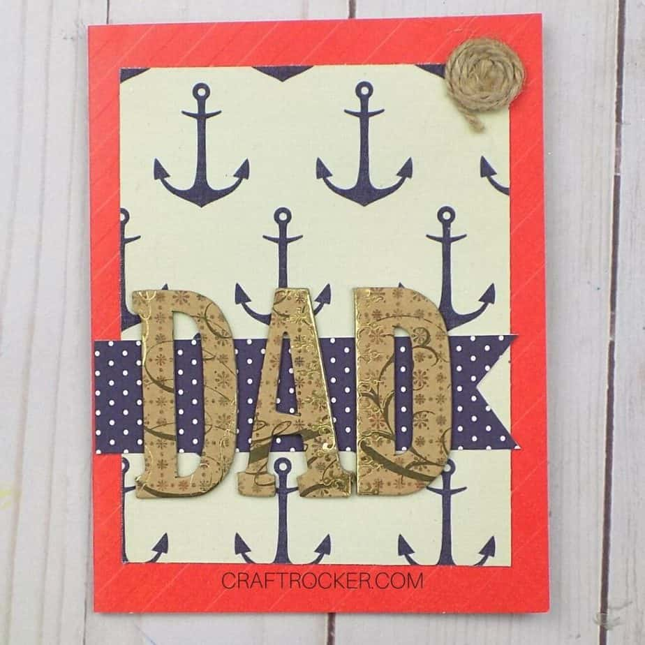 Close Up of Anchor Father's Day Card on Wood Background - Craft Rocker