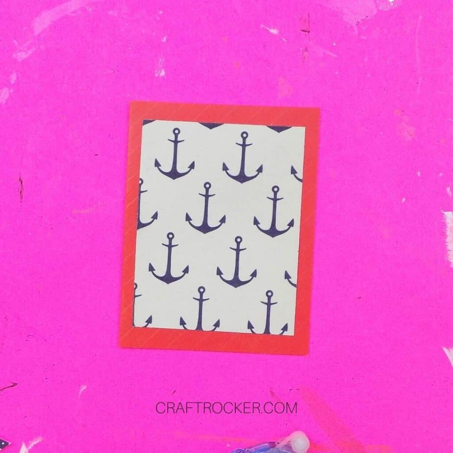 Close Up of Anchor Paper Matted on Blank Red Greeting Card - Craft Rocker