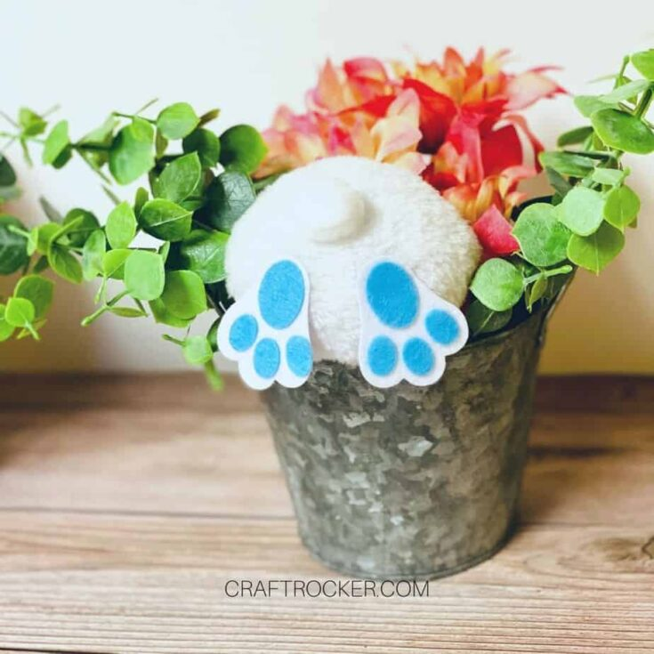 Close Up of Blue Bunny Butt in Floral Arrangement - Craft Rocker
