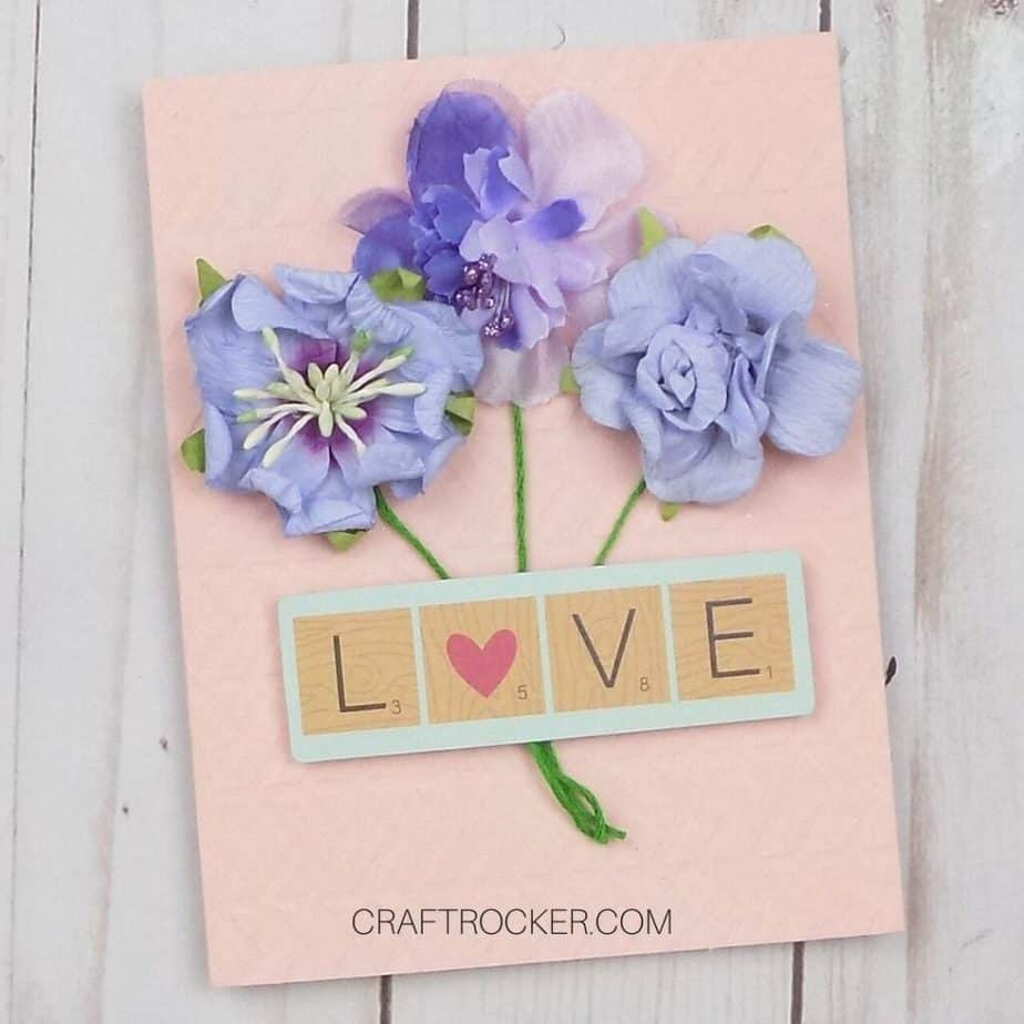 Close Up of Bouquet Card on Wood Background - Craft Rocker