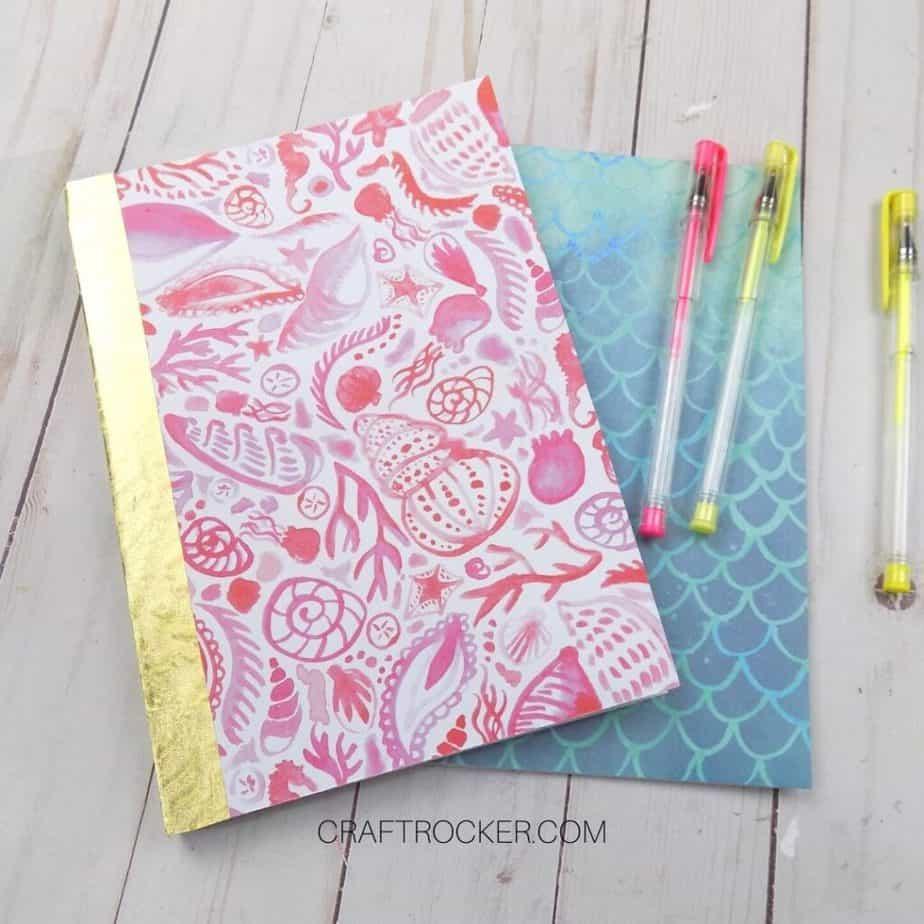 Close Up of DIY Notebooks next to Gel Pens - Craft Rocker
