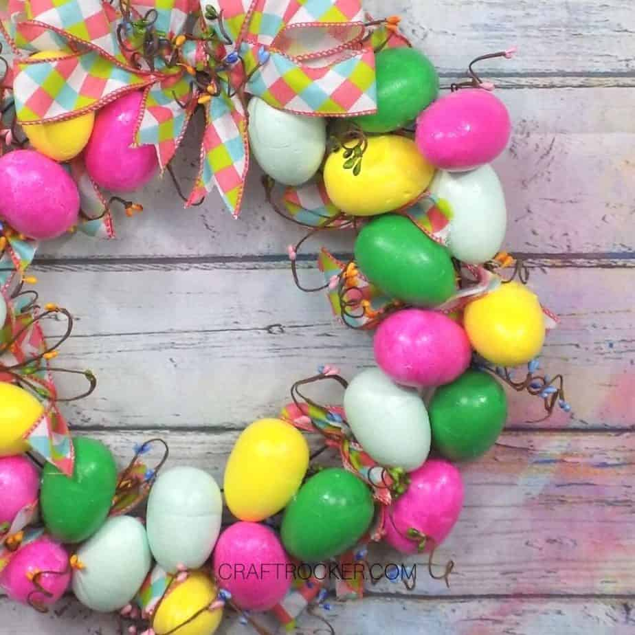 Close Up of Easter Egg Wreath on Wood Background - Craft Rocker