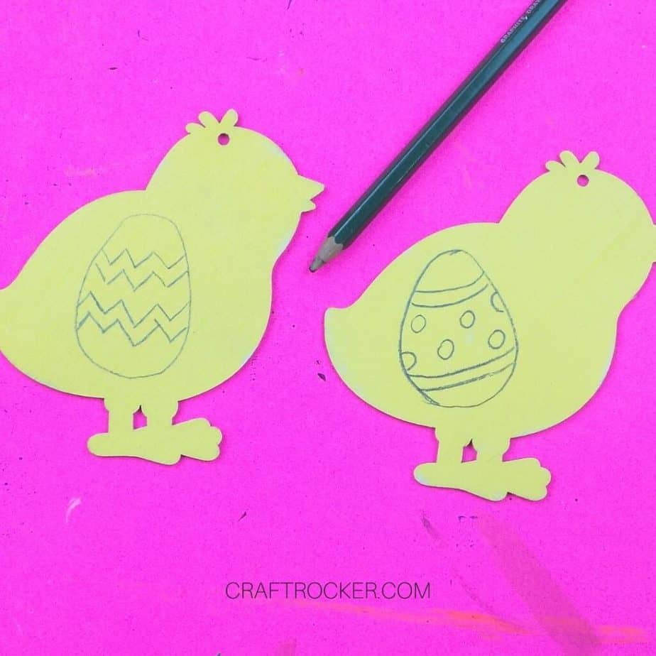 Close Up of Easter Eggs Drawn on Yellow Chicks - Craft Rocker
