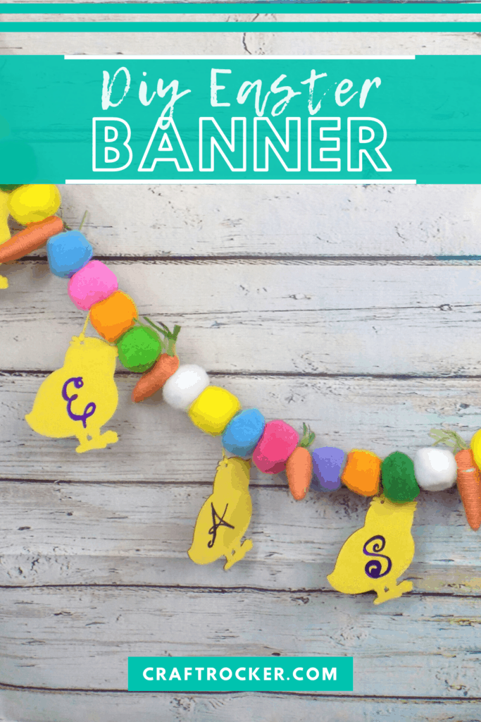 Close Up of Easter Garland on Wood Background with text overlay - DIY Easter Banner - Craft Rocker