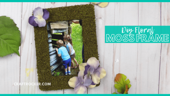 Close Up of Moss Frame with Photo of Kids with text overlay - DIY Floral Moss Frame - Craft Rocker