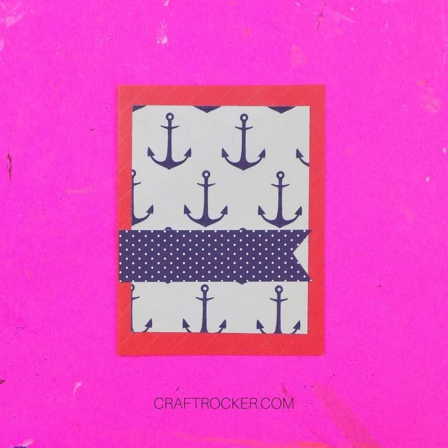 Close Up of Navy Paper Flag on top of Anchor Paper Matted on Blank Red Greeting Card - Craft Rocker