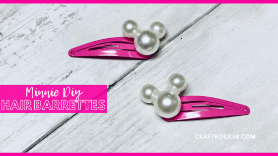 Close Up of Pink Minnie Barrettes with text overlay - Minnie DIY Hair Barrettes - Craft Rocker