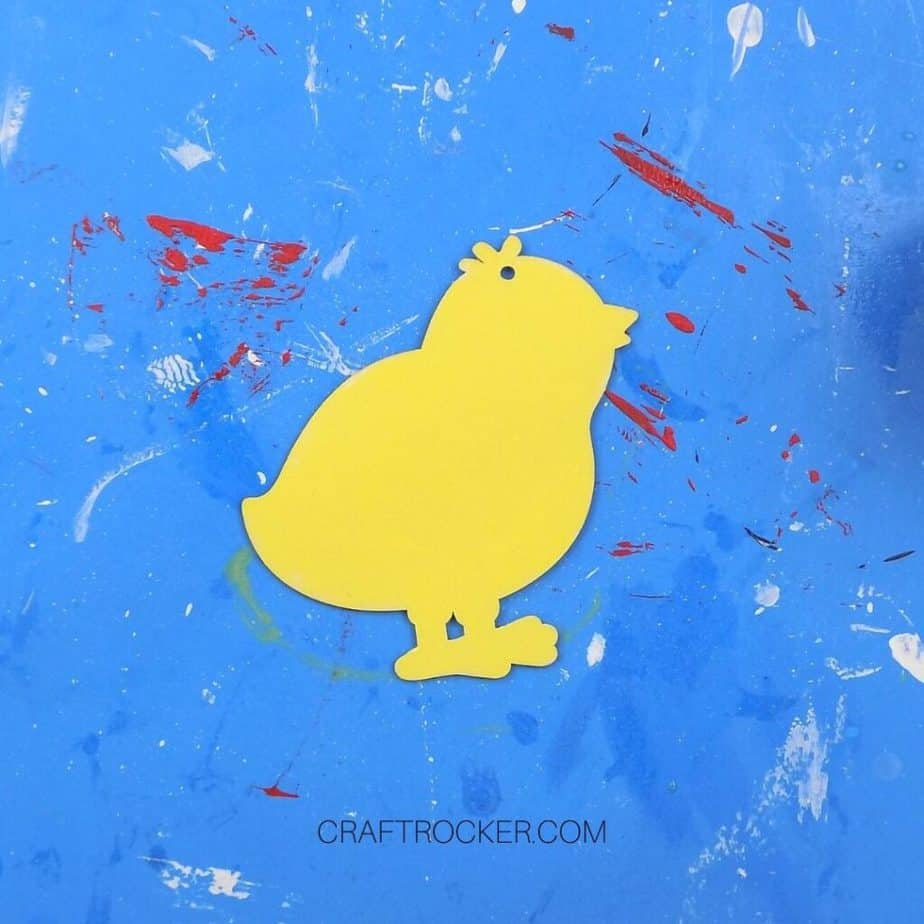 Close Up of Yellow Painted Wooden Chick - Craft Rocker