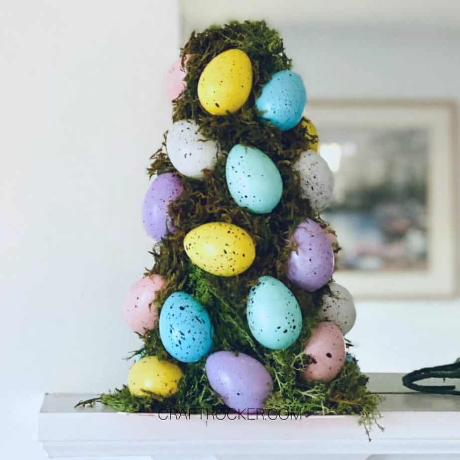 Close up of Easter Egg Topiary on Mantle - Craft Rocker