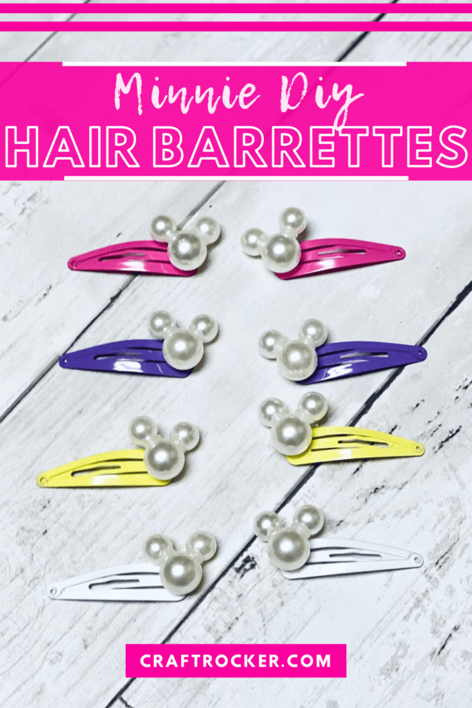 Colorful Minnie Barrettes on Wood Background with text overlay - Minnie DIY Hair Barrettes - Craft Rocker