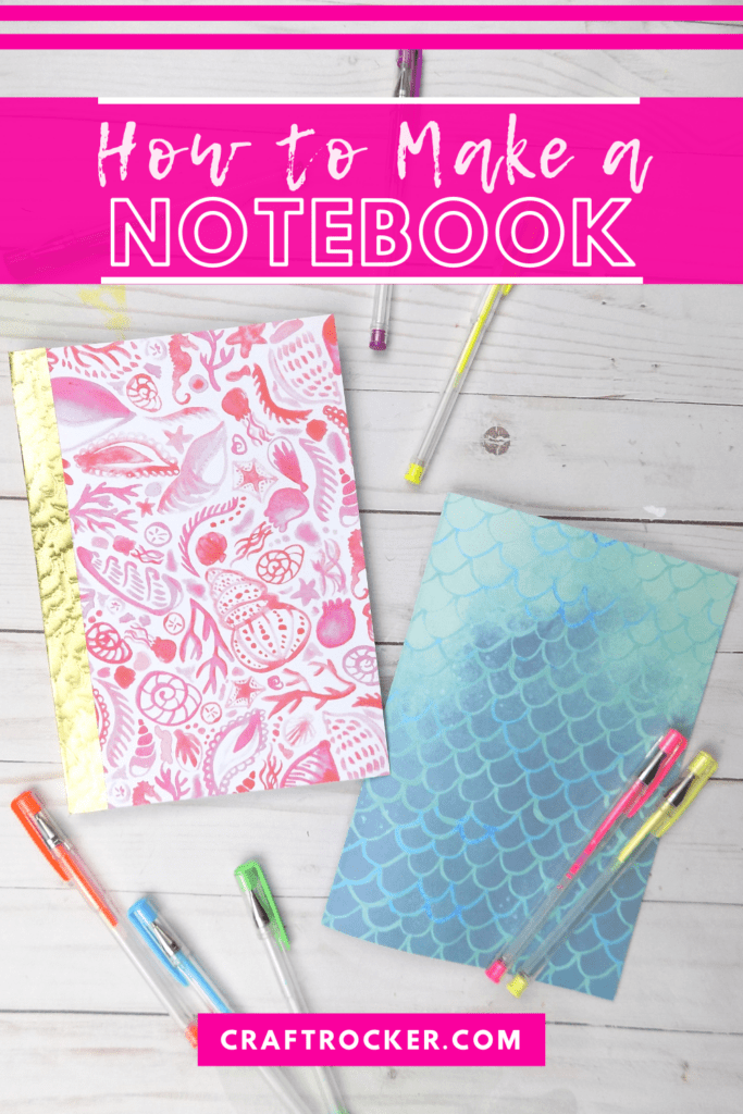 DIY Notebooks next to Gel Pens with text overlay - How to Make a Notebook - Craft Rocker