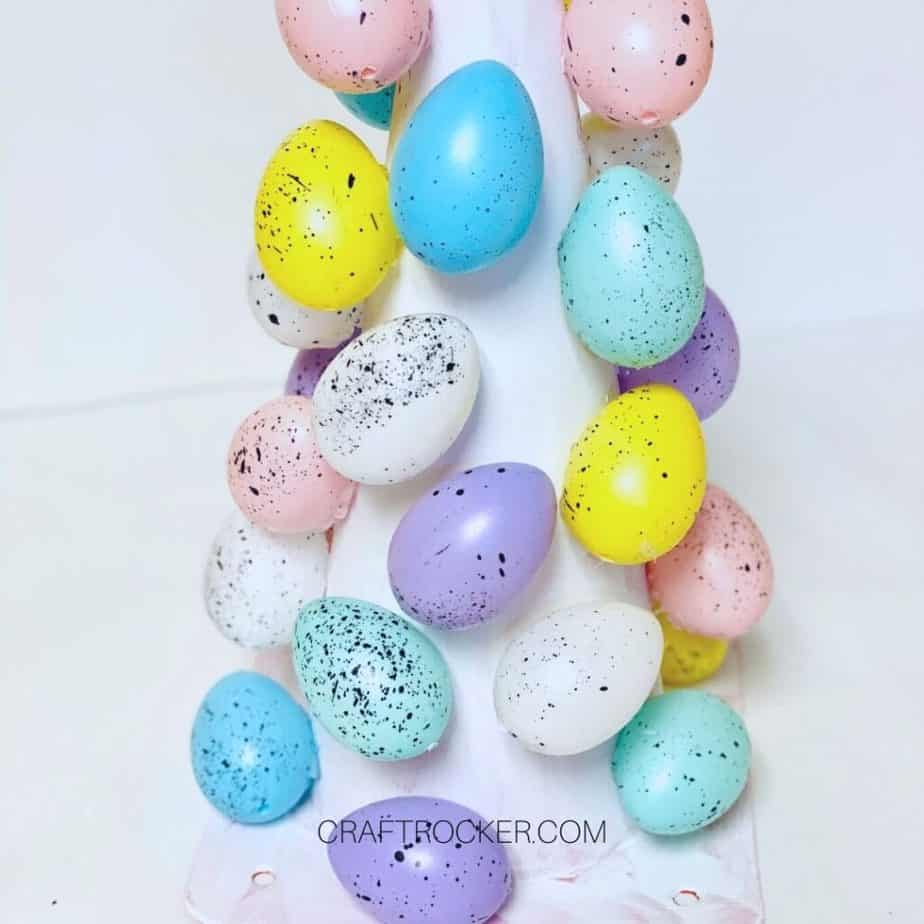 Easter Eggs Glued to Painted Safety Cone - Craft Rocker