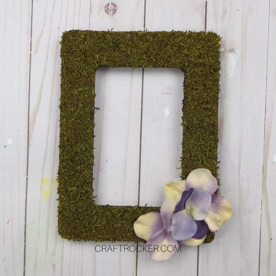 Faux Flowers Glued to Bottom Right Corner of Moss Frame - Craft Rocker