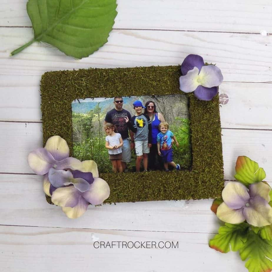 Floral Moss Frame with Photo of Family on Wood Background - Craft Rocker