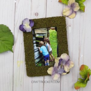 Floral Moss Frame with Photo of Kids on Wood Background - Craft Rocker