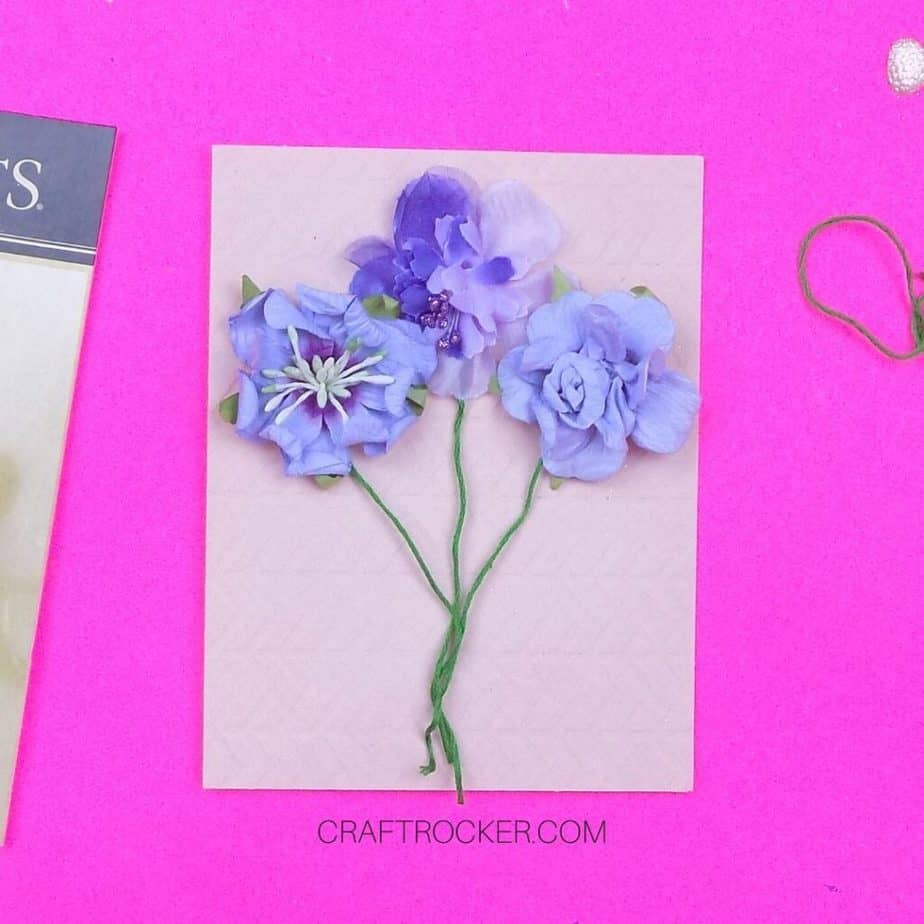 Flower Stickers with Stems Attached to Card - Craft Rocker