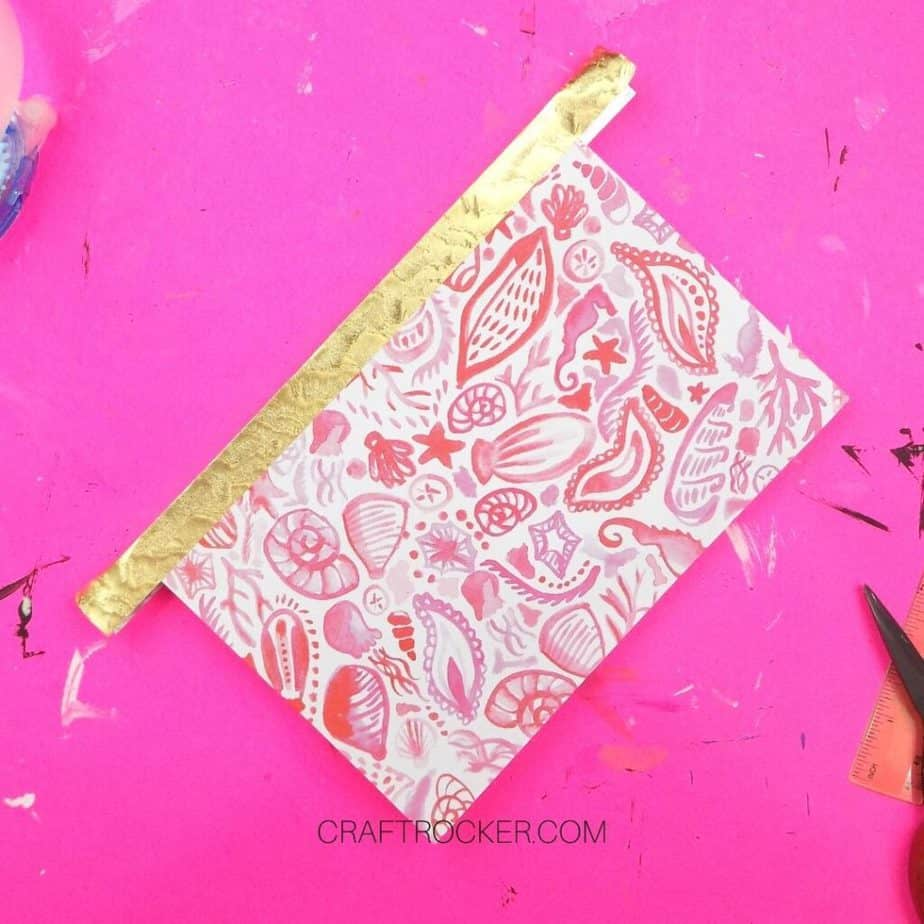 Gold Duct Tape on Binding of Pink Seashell Notebook - Craft Rocker