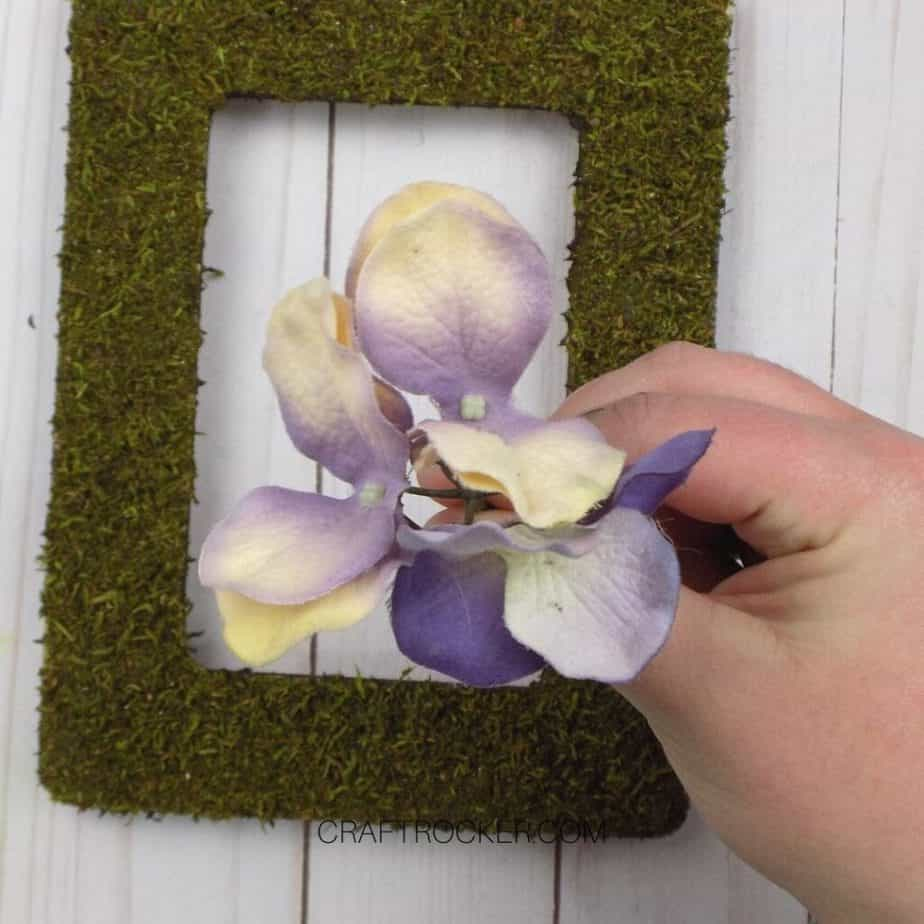 Hand Holding Faux Flowers over Moss Frame - Craft Rocker