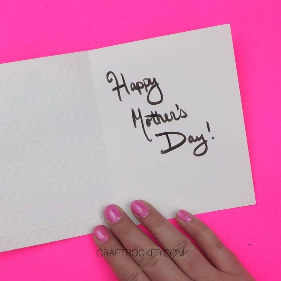 Hand Holding Open Card with Happy Mother's Day Written Inside - Craft Rocker